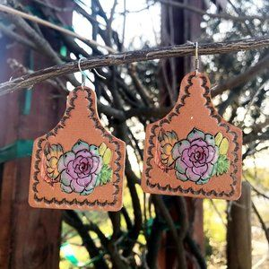 Jewelry - Floral Leather Cattle Tag Earrings